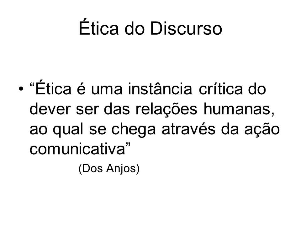 Ética do Discurso Ética é uma instância crítica do dever ser das relações humanas, ao qual se chega através da ação comunicativa