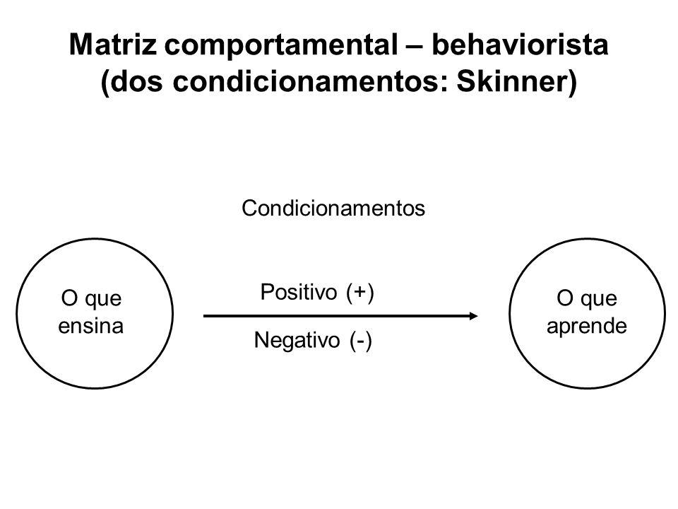 Matriz comportamental – behaviorista (dos condicionamentos: Skinner)