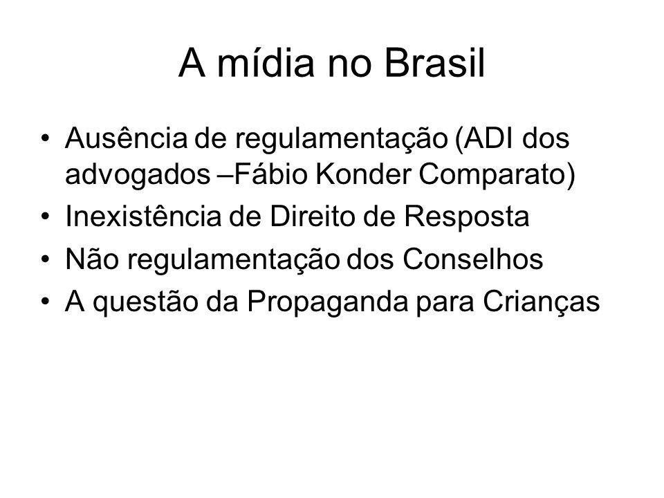 A mídia no Brasil Ausência de regulamentação (ADI dos advogados –Fábio Konder Comparato) Inexistência de Direito de Resposta.
