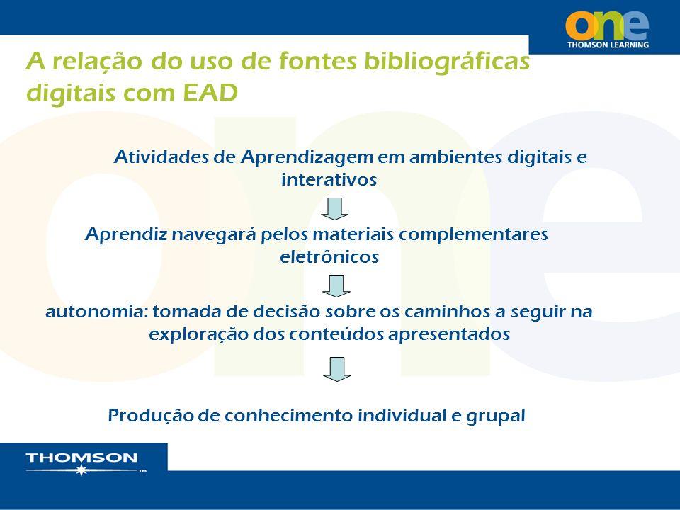 A relação do uso de fontes bibliográficas digitais com EAD