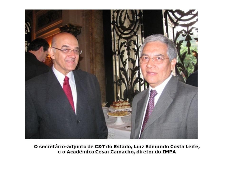 O secretário-adjunto de C&T do Estado, Luiz Edmundo Costa Leite, e o Acadêmico Cesar Camacho, diretor do IMPA