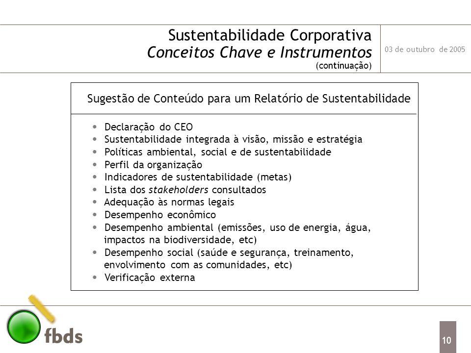 Sugestão de Conteúdo para um Relatório de Sustentabilidade