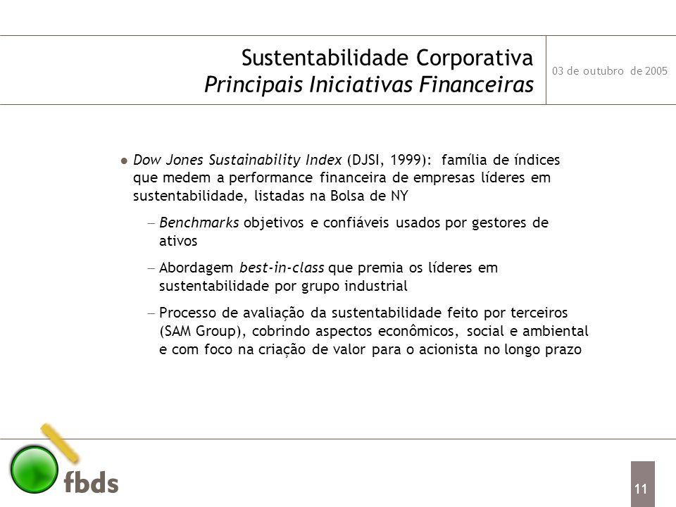 Sustentabilidade Corporativa Principais Iniciativas Financeiras