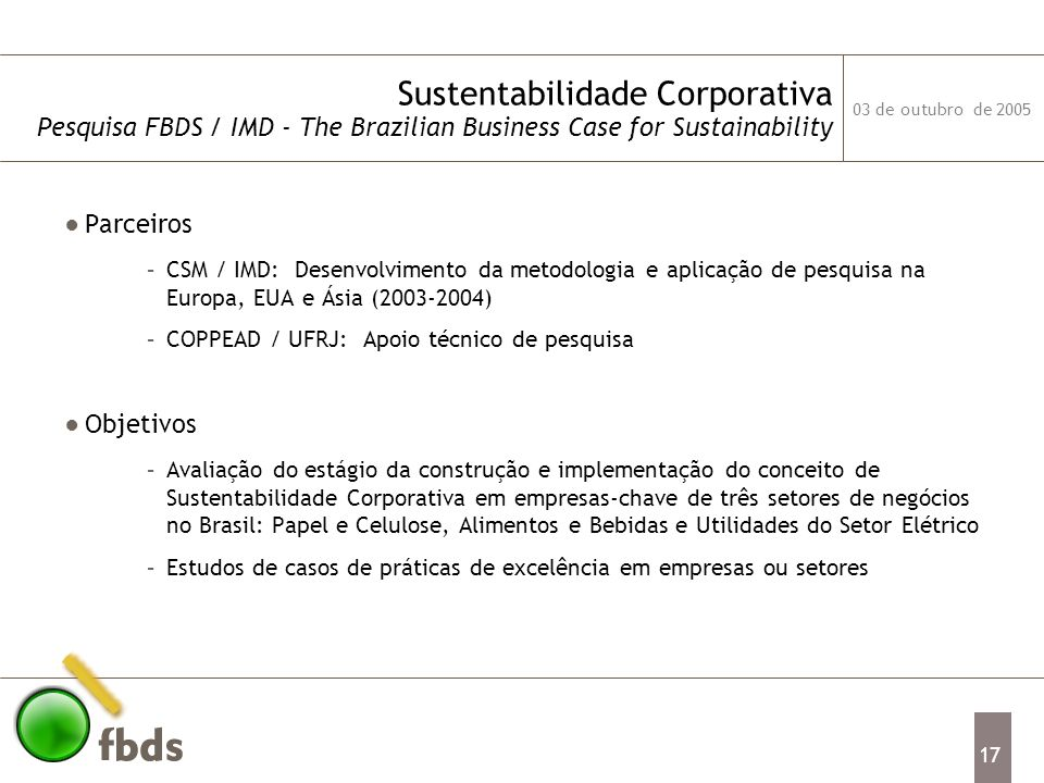 Sustentabilidade Corporativa Pesquisa FBDS / IMD - The Brazilian Business Case for Sustainability