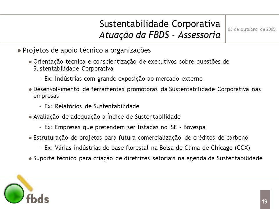 Sustentabilidade Corporativa Atuação da FBDS - Assessoria