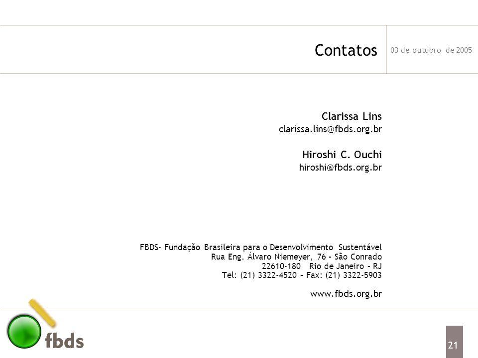 Contatos Clarissa Lins Hiroshi C. Ouchi clarissa.lins@fbds.org.br