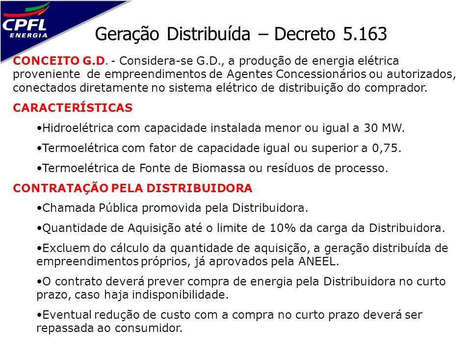 Geração Distribuída – Decreto 5.163