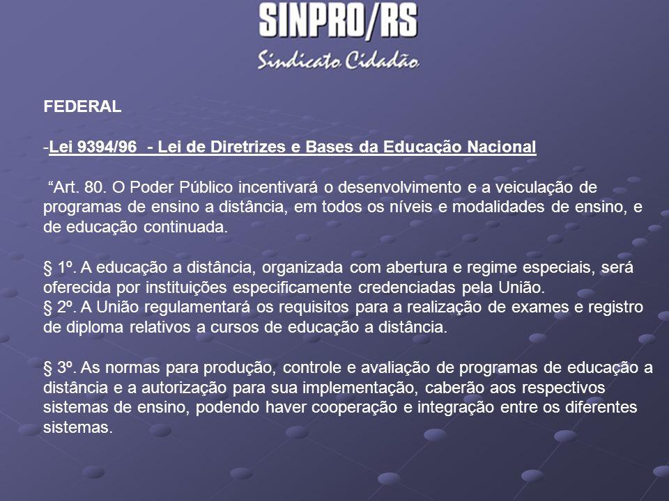 FEDERAL Lei 9394/96 - Lei de Diretrizes e Bases da Educação Nacional.
