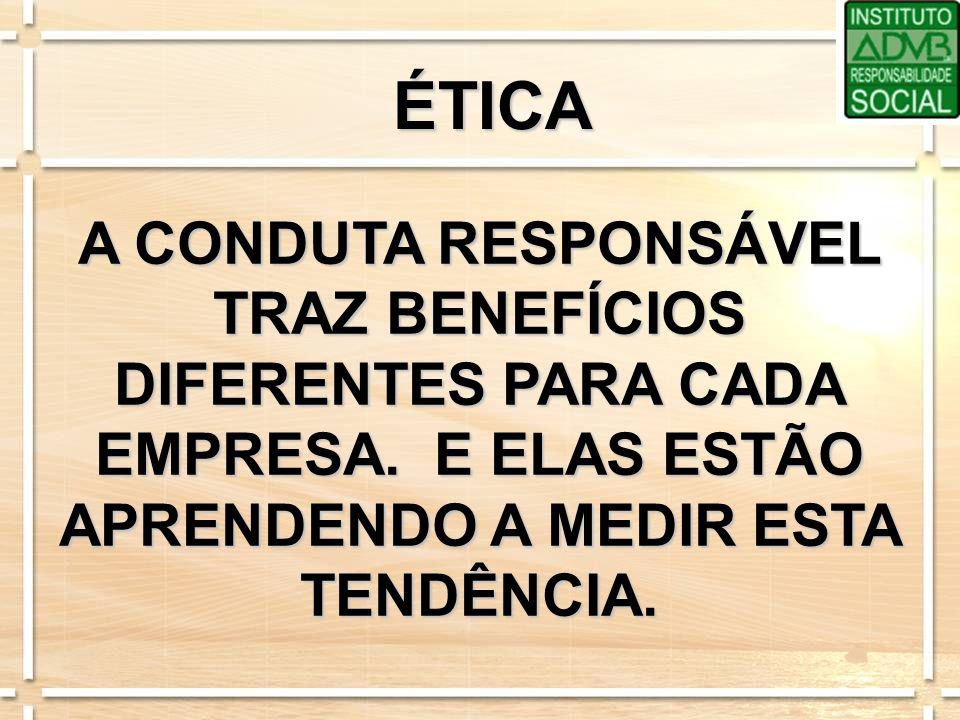 ÉTICA A CONDUTA RESPONSÁVEL TRAZ BENEFÍCIOS DIFERENTES PARA CADA EMPRESA. E ELAS ESTÃO APRENDENDO A MEDIR ESTA TENDÊNCIA.