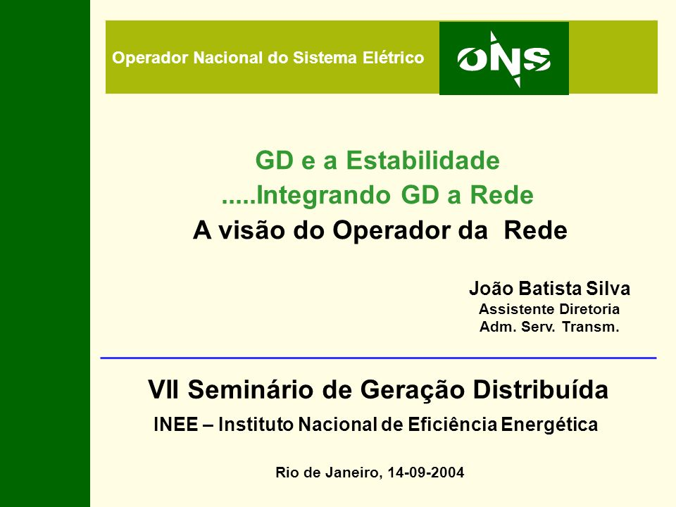 VII Seminário de Geração Distribuída
