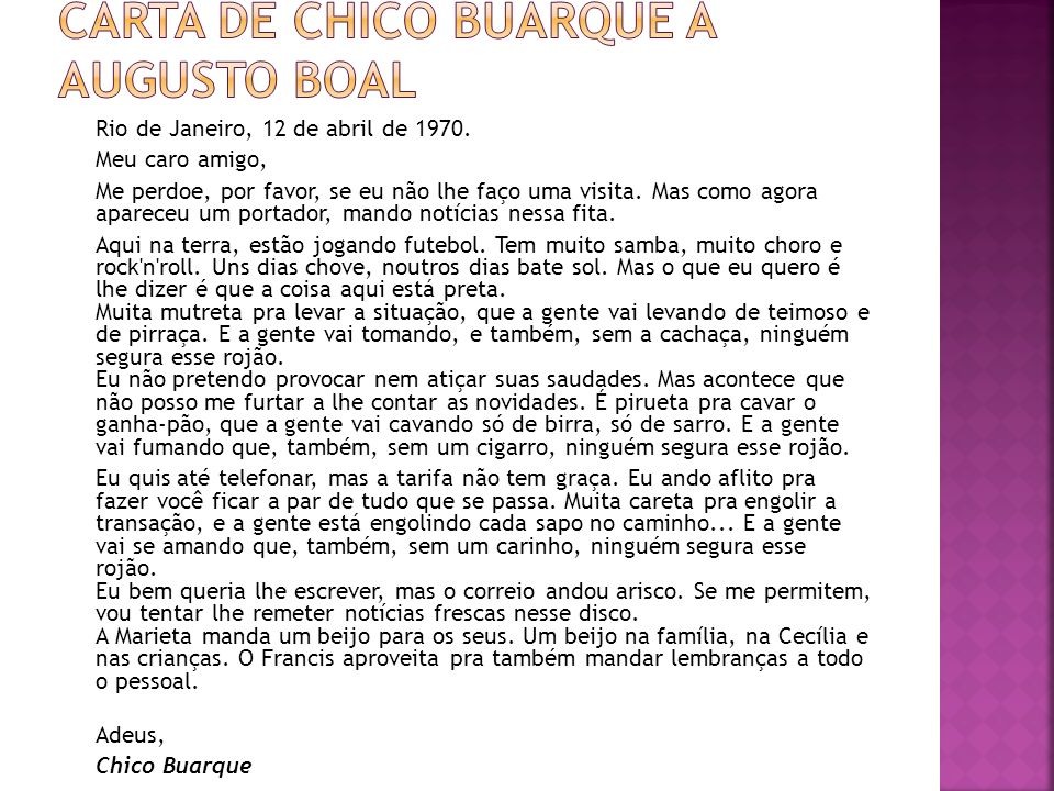 Carta de Chico Buarque a Augusto Boal