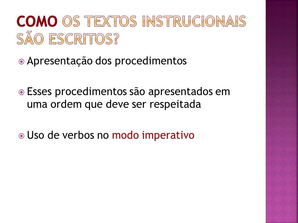 Como os textos instrucionais são escritos