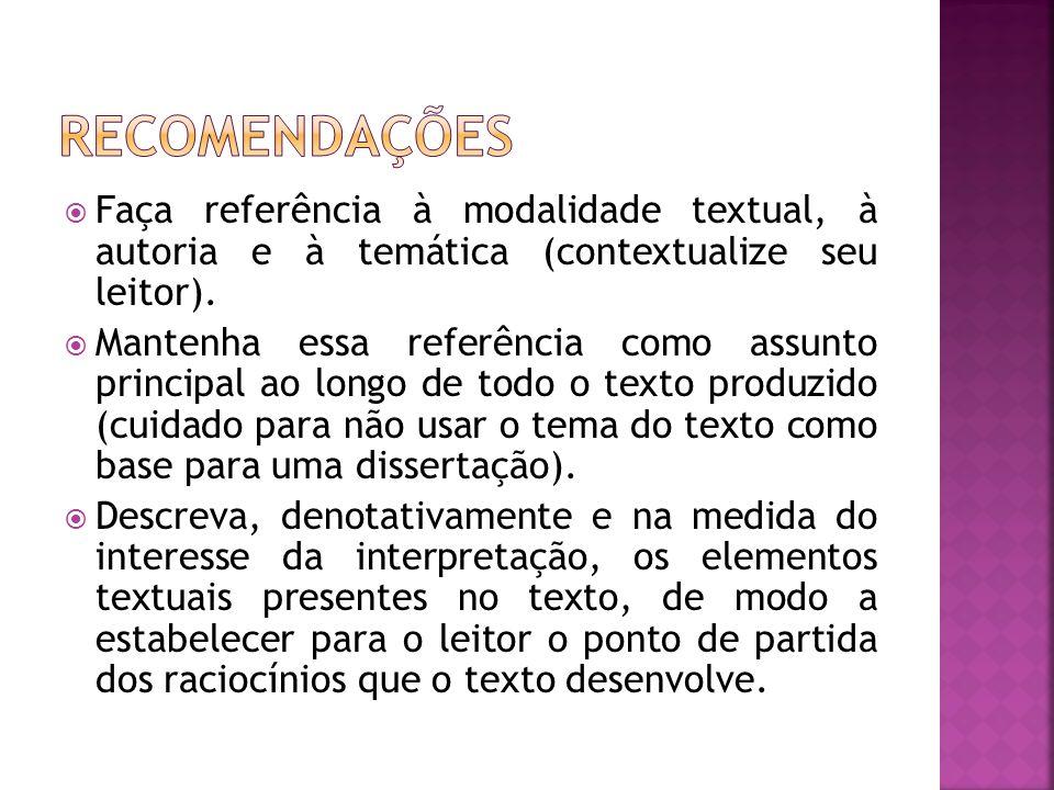Recomendações Faça referência à modalidade textual, à autoria e à temática (contextualize seu leitor).