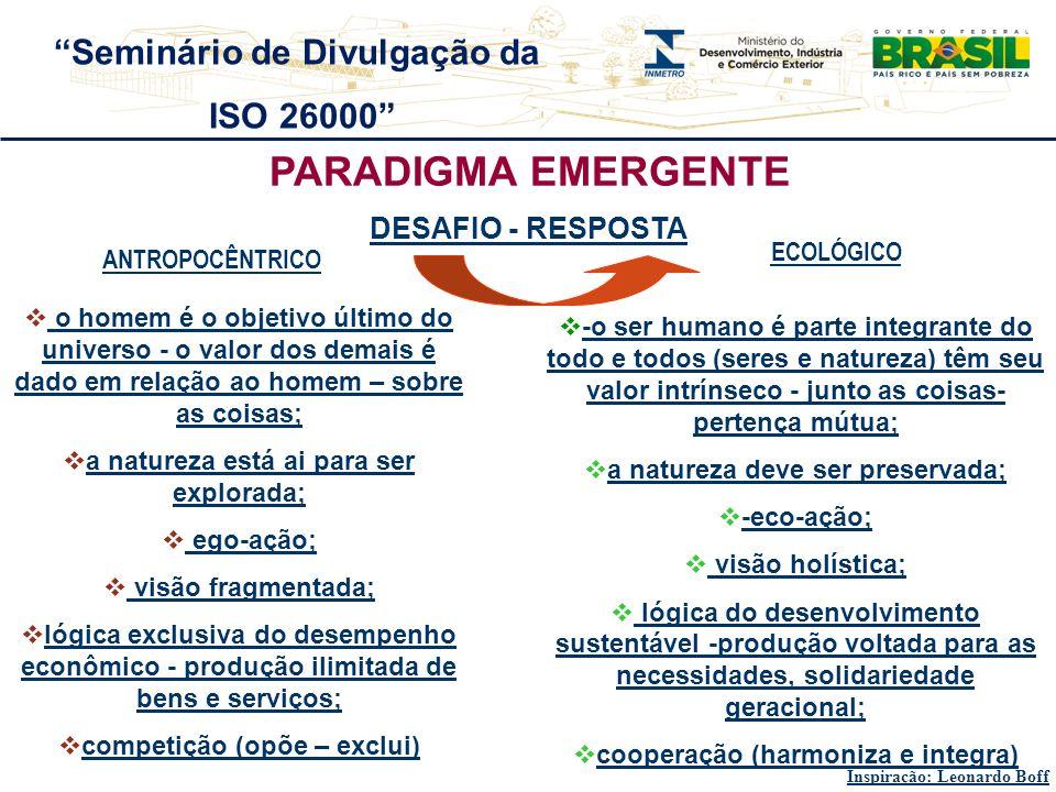 PARADIGMA EMERGENTE Seminário de Divulgação da ISO 26000