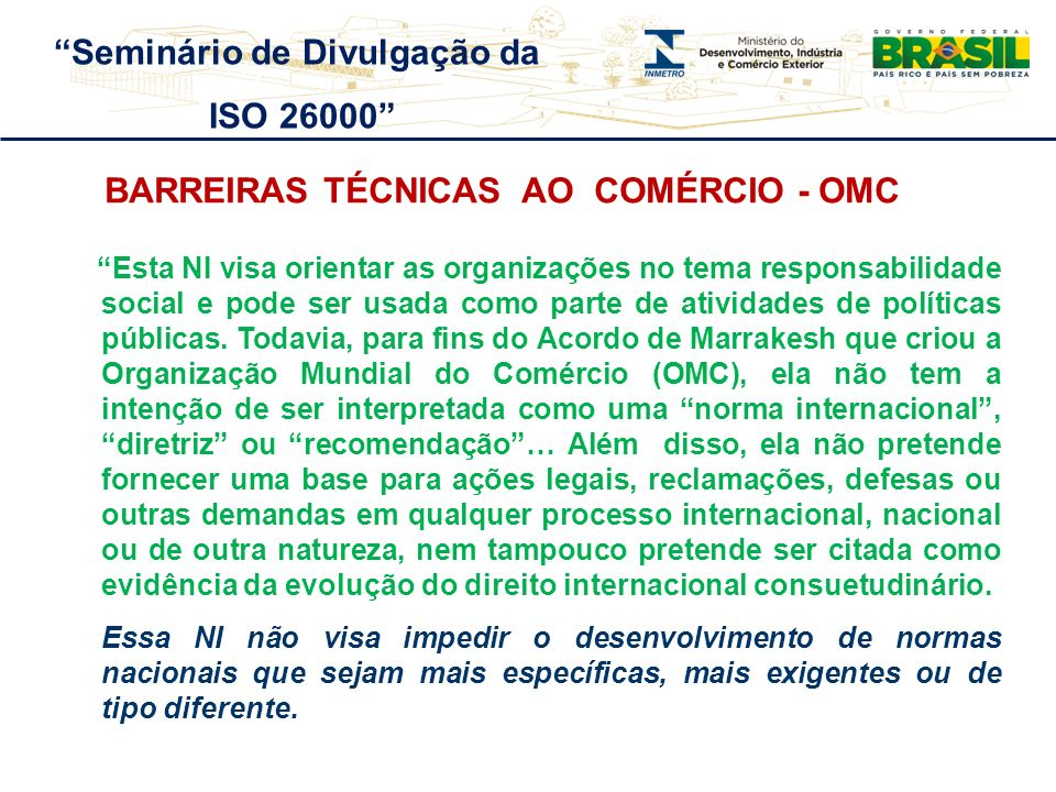 Seminário de Divulgação da Barreiras Técnicas ao Comércio - OMC