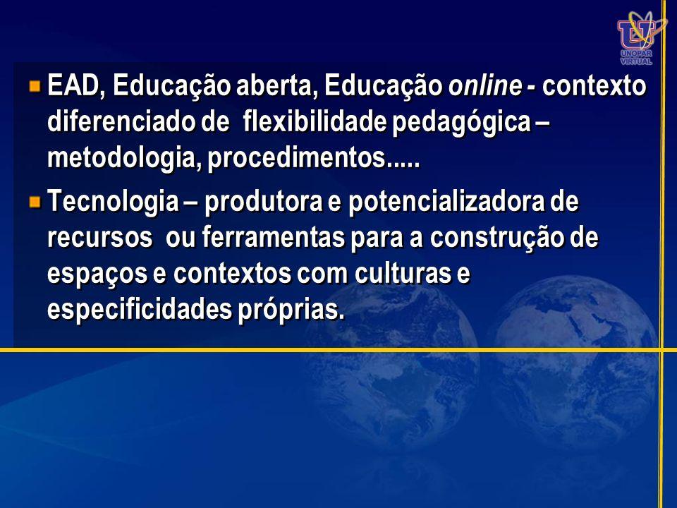 EAD, Educação aberta, Educação online - contexto diferenciado de flexibilidade pedagógica – metodologia, procedimentos.....