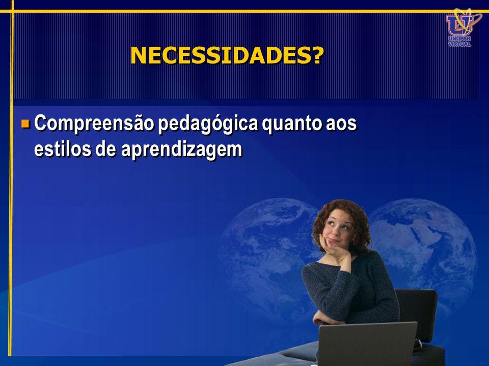 NECESSIDADES Compreensão pedagógica quanto aos estilos de aprendizagem