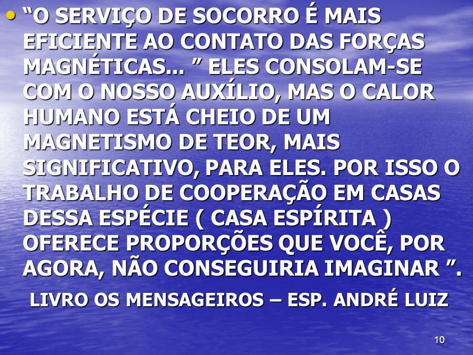 O SERVIÇO DE SOCORRO É MAIS EFICIENTE AO CONTATO DAS FORÇAS MAGNÉTICAS... ELES CONSOLAM-SE COM O NOSSO AUXÍLIO, MAS O CALOR HUMANO ESTÁ CHEIO DE UM MAGNETISMO DE TEOR, MAIS SIGNIFICATIVO, PARA ELES. POR ISSO O TRABALHO DE COOPERAÇÃO EM CASAS DESSA ESPÉCIE ( CASA ESPÍRITA ) OFERECE PROPORÇÕES QUE VOCÊ, POR AGORA, NÃO CONSEGUIRIA IMAGINAR .