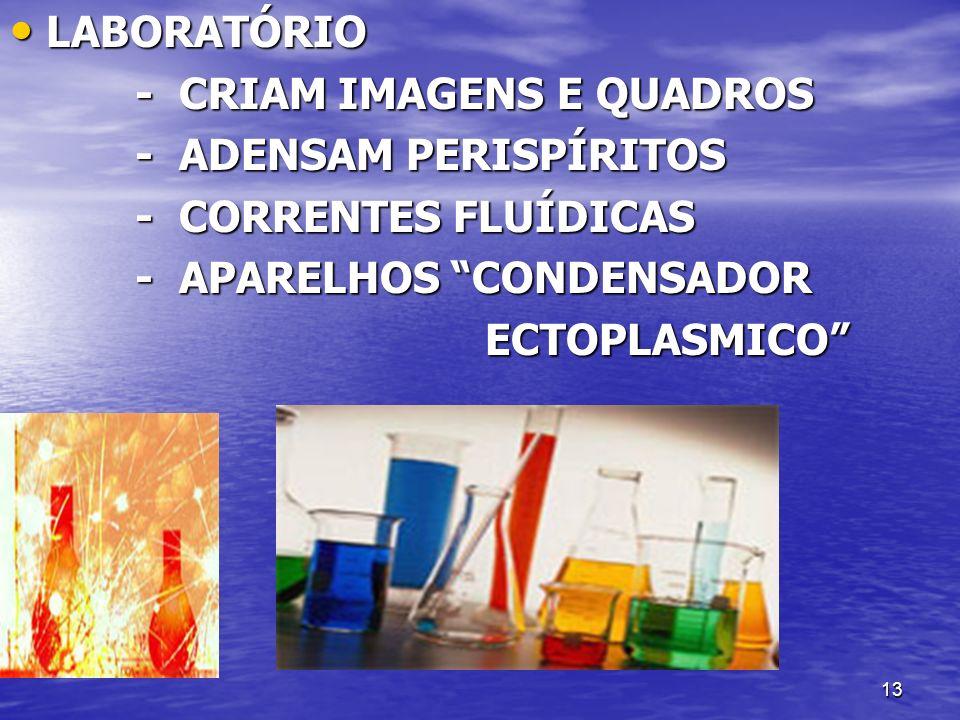 LABORATÓRIO - CRIAM IMAGENS E QUADROS. - ADENSAM PERISPÍRITOS. - CORRENTES FLUÍDICAS. - APARELHOS CONDENSADOR.