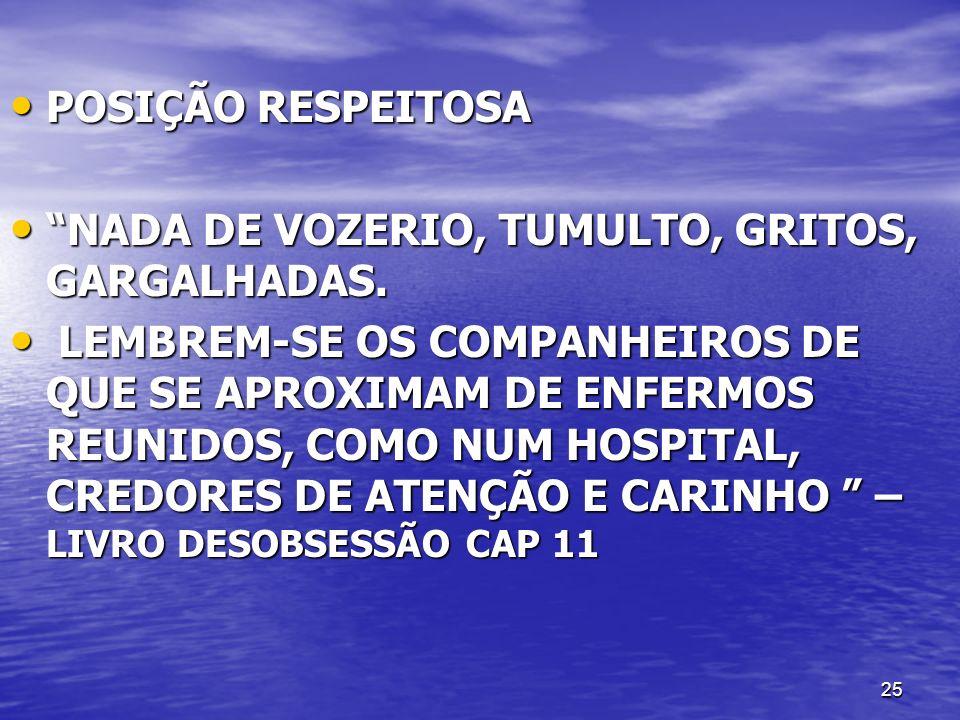 POSIÇÃO RESPEITOSA NADA DE VOZERIO, TUMULTO, GRITOS, GARGALHADAS.