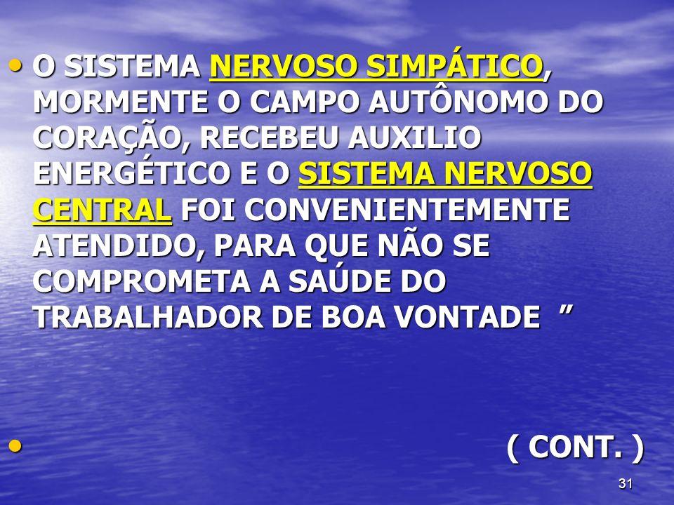 O SISTEMA NERVOSO SIMPÁTICO, MORMENTE O CAMPO AUTÔNOMO DO CORAÇÃO, RECEBEU AUXILIO ENERGÉTICO E O SISTEMA NERVOSO CENTRAL FOI CONVENIENTEMENTE ATENDIDO, PARA QUE NÃO SE COMPROMETA A SAÚDE DO TRABALHADOR DE BOA VONTADE