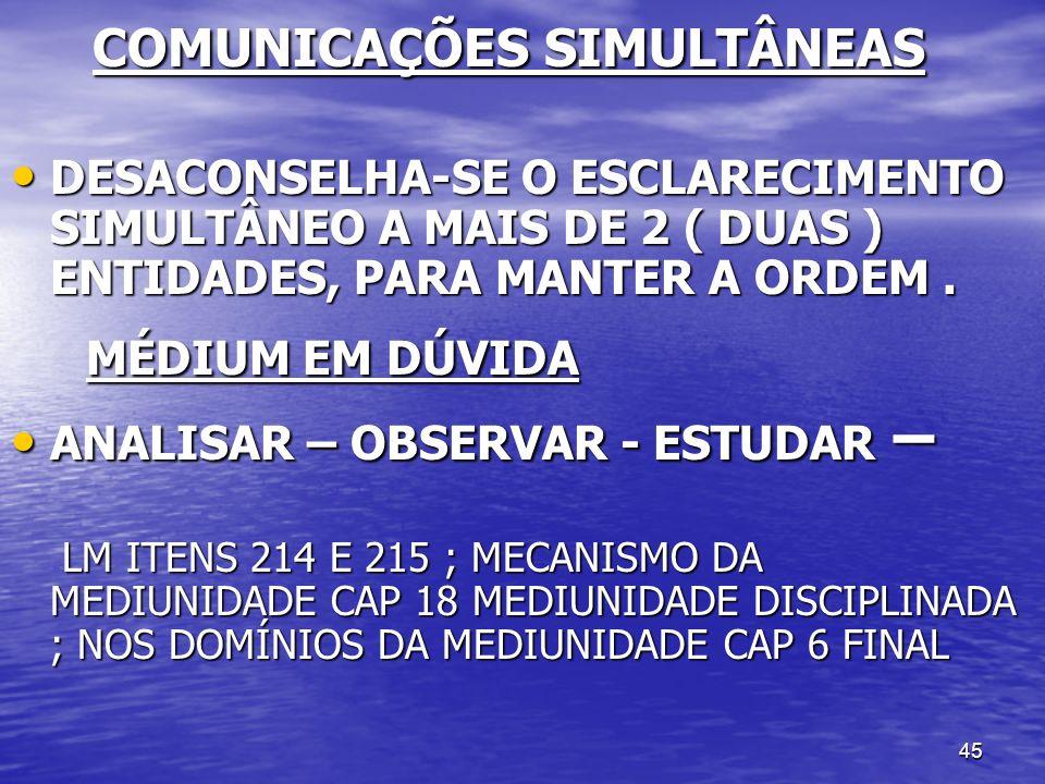 COMUNICAÇÕES SIMULTÂNEAS