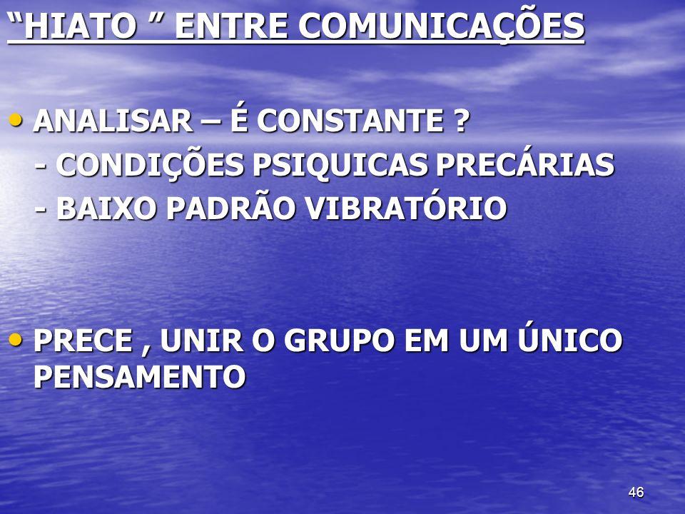 HIATO ENTRE COMUNICAÇÕES