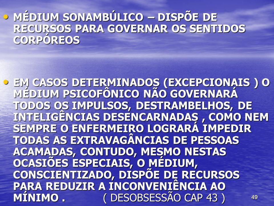 MÉDIUM SONAMBÚLICO – DISPÕE DE RECURSOS PARA GOVERNAR OS SENTIDOS CORPÓREOS