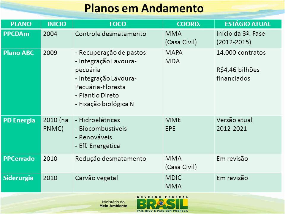 Planos em Andamento PLANO INICIO FOCO COORD. ESTÁGIO ATUAL PPCDAm 2004