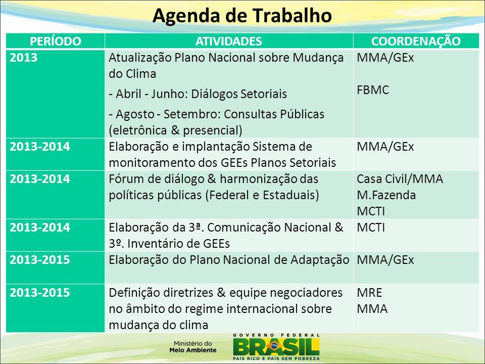 Agenda de Trabalho PERÍODO ATIVIDADES COORDENAÇÃO 2013