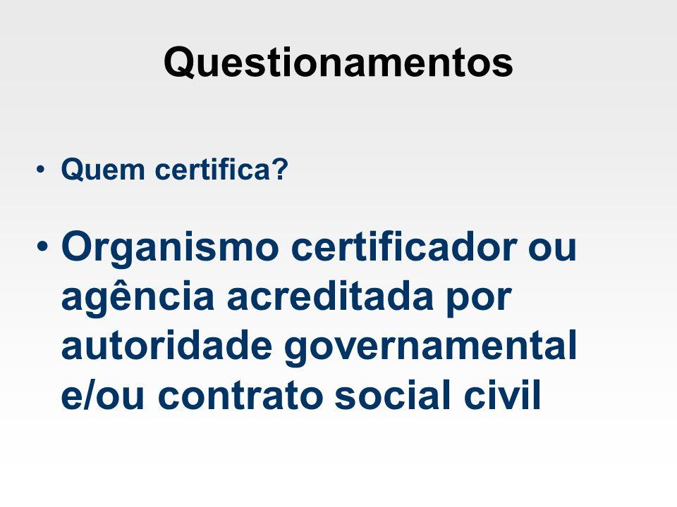 Questionamentos Quem certifica.