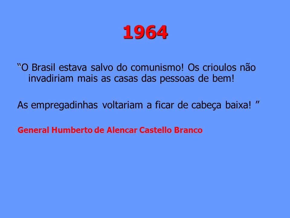 1964 O Brasil estava salvo do comunismo! Os crioulos não invadiriam mais as casas das pessoas de bem!