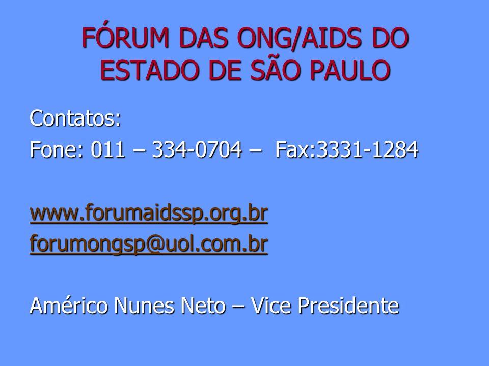 FÓRUM DAS ONG/AIDS DO ESTADO DE SÃO PAULO