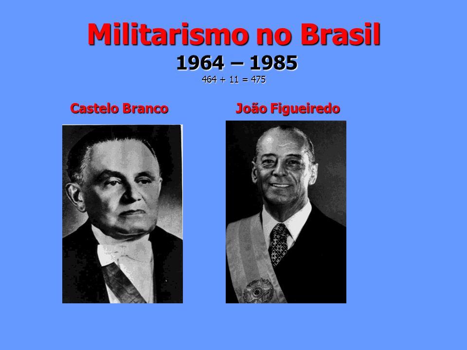 Militarismo no Brasil 1964 – 1985 464 + 11 = 475