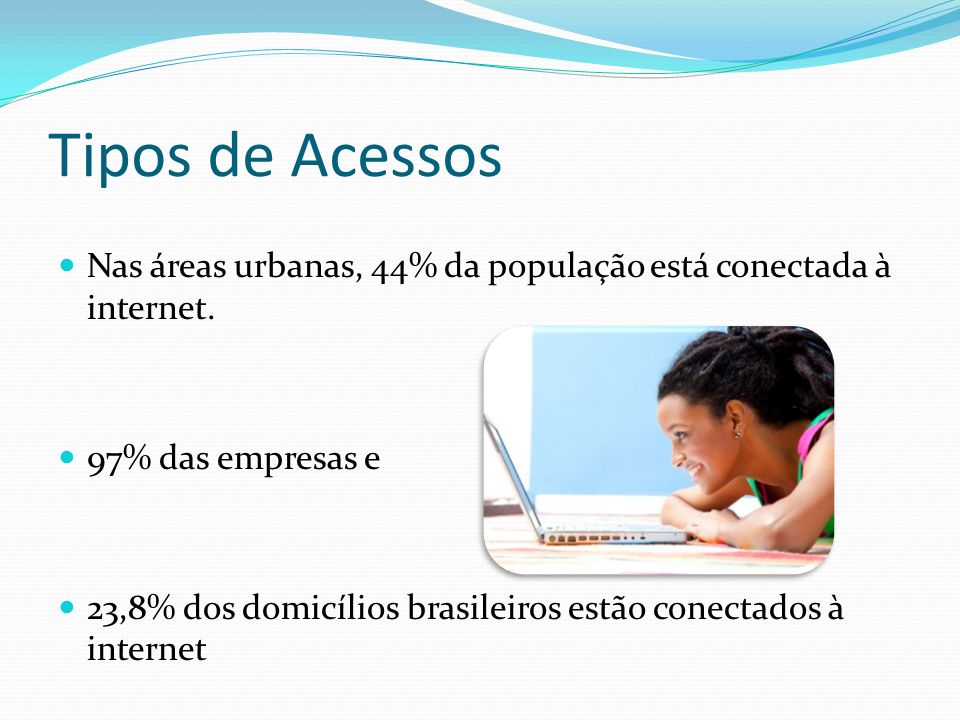 Tipos de Acessos Nas áreas urbanas, 44% da população está conectada à internet. 97% das empresas e.