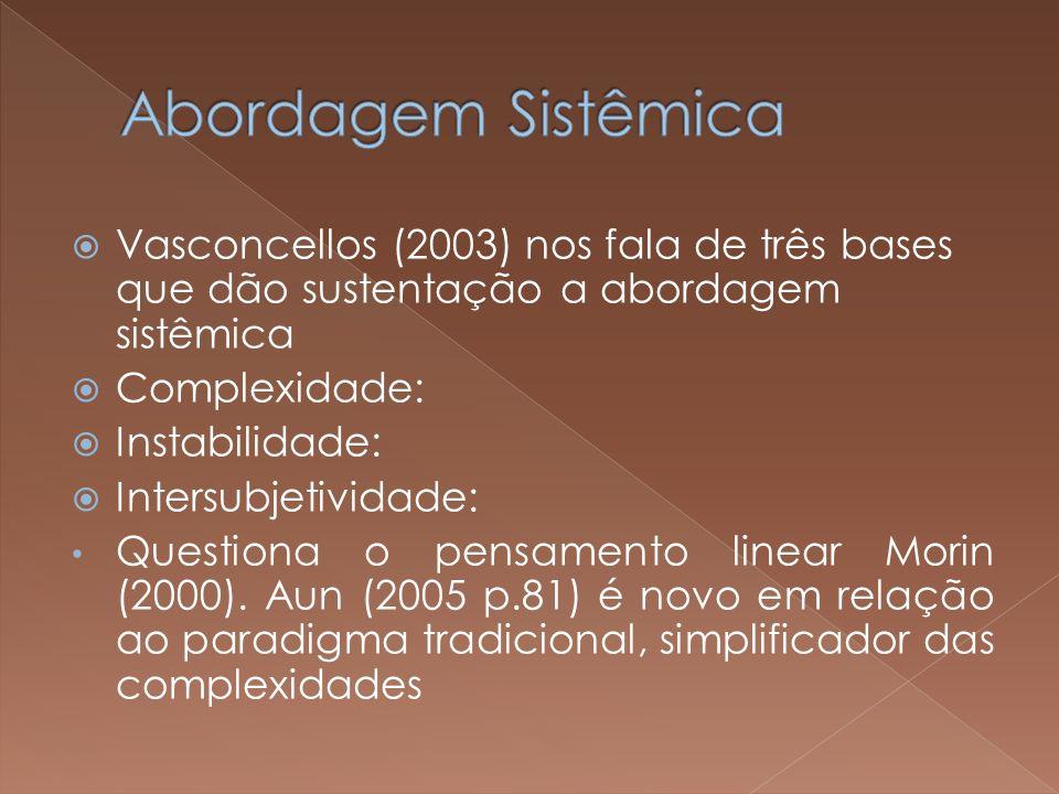 Abordagem Sistêmica Vasconcellos (2003) nos fala de três bases que dão sustentação a abordagem sistêmica.