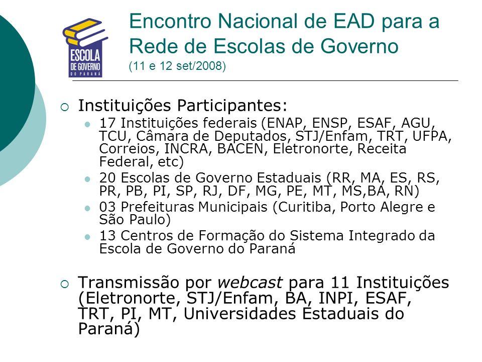 Encontro Nacional de EAD para a Rede de Escolas de Governo (11 e 12 set/2008)