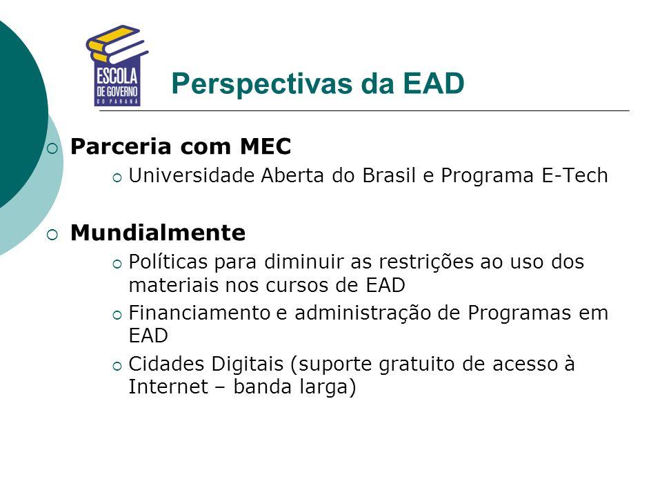 Perspectivas da EAD Parceria com MEC Mundialmente