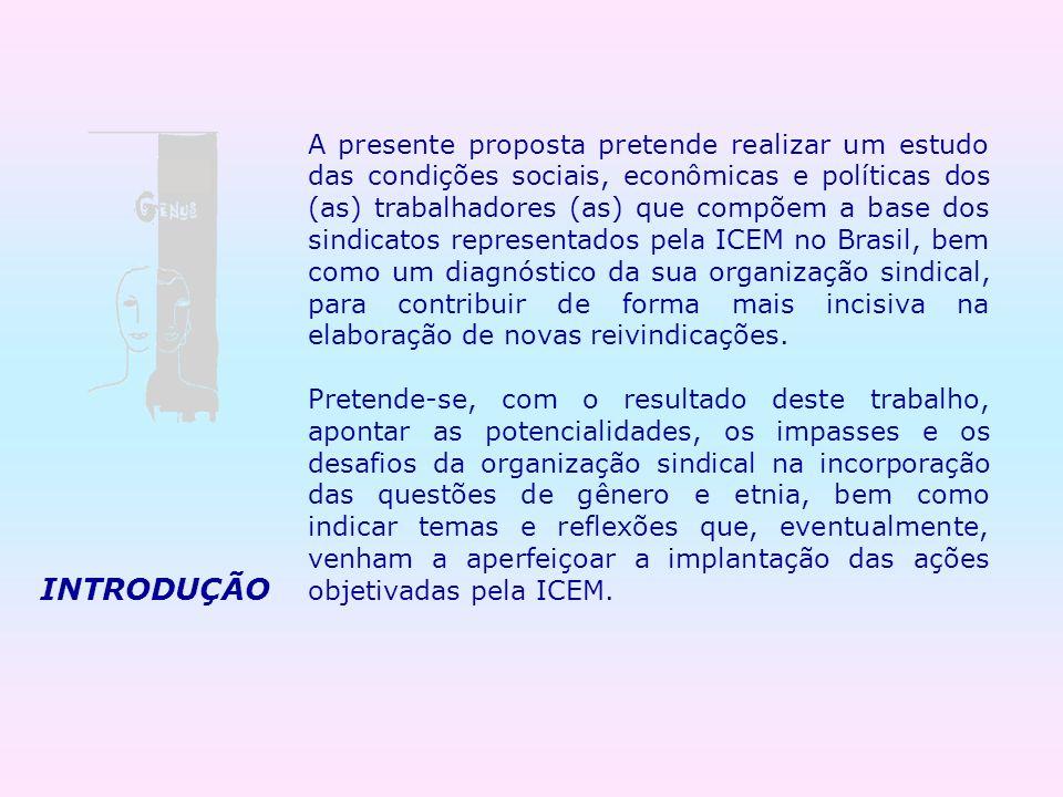A presente proposta pretende realizar um estudo das condições sociais, econômicas e políticas dos (as) trabalhadores (as) que compõem a base dos sindicatos representados pela ICEM no Brasil, bem como um diagnóstico da sua organização sindical, para contribuir de forma mais incisiva na elaboração de novas reivindicações.