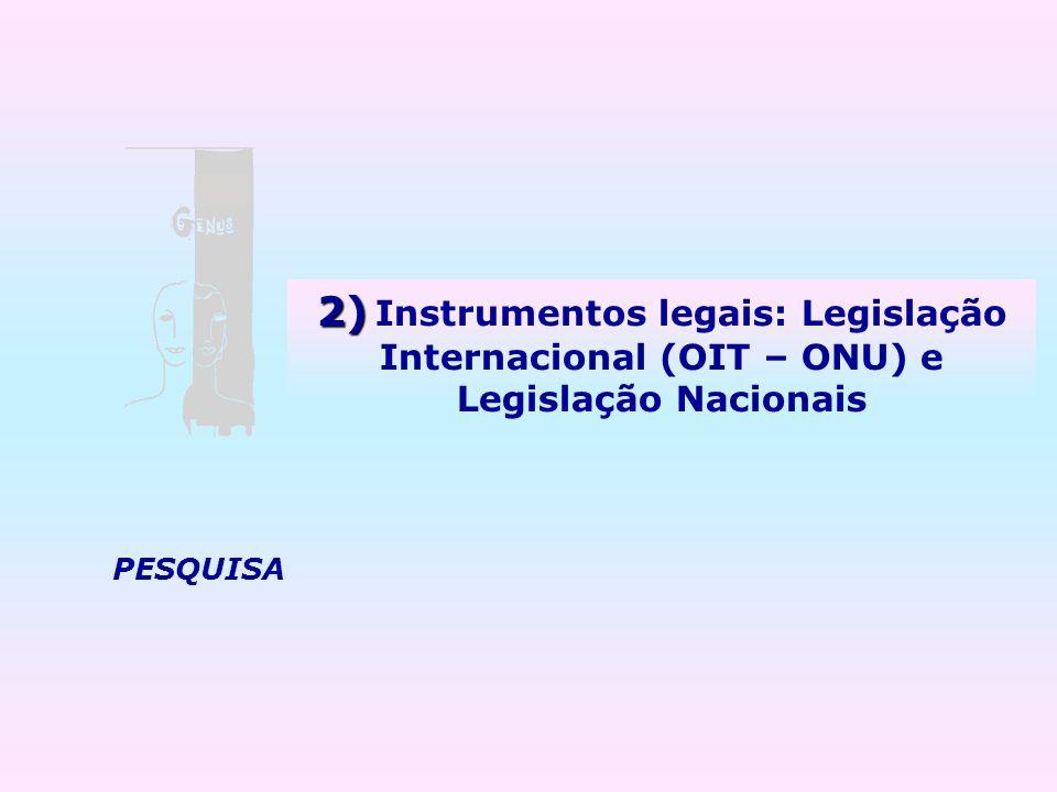 2) Instrumentos legais: Legislação Internacional (OIT – ONU) e Legislação Nacionais
