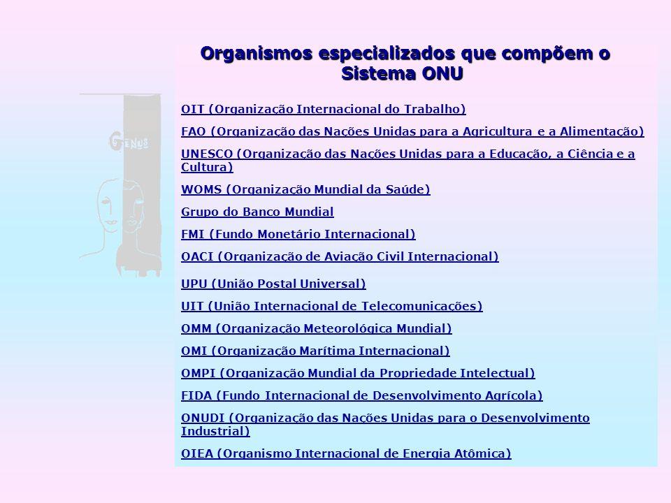 Sistema ONU Organismos especializados que compõem o