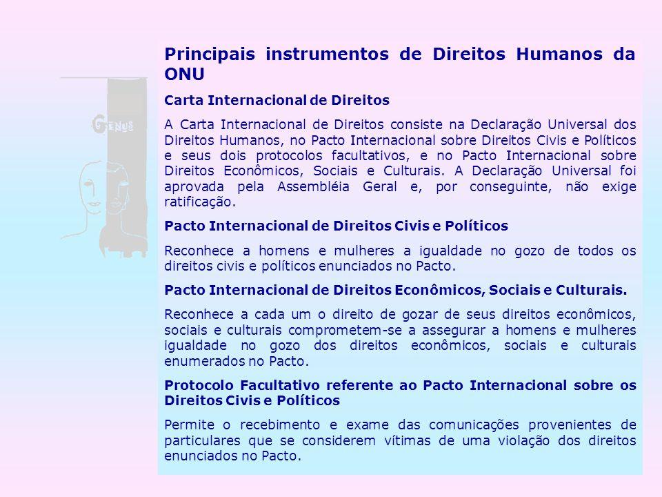 Principais instrumentos de Direitos Humanos da ONU