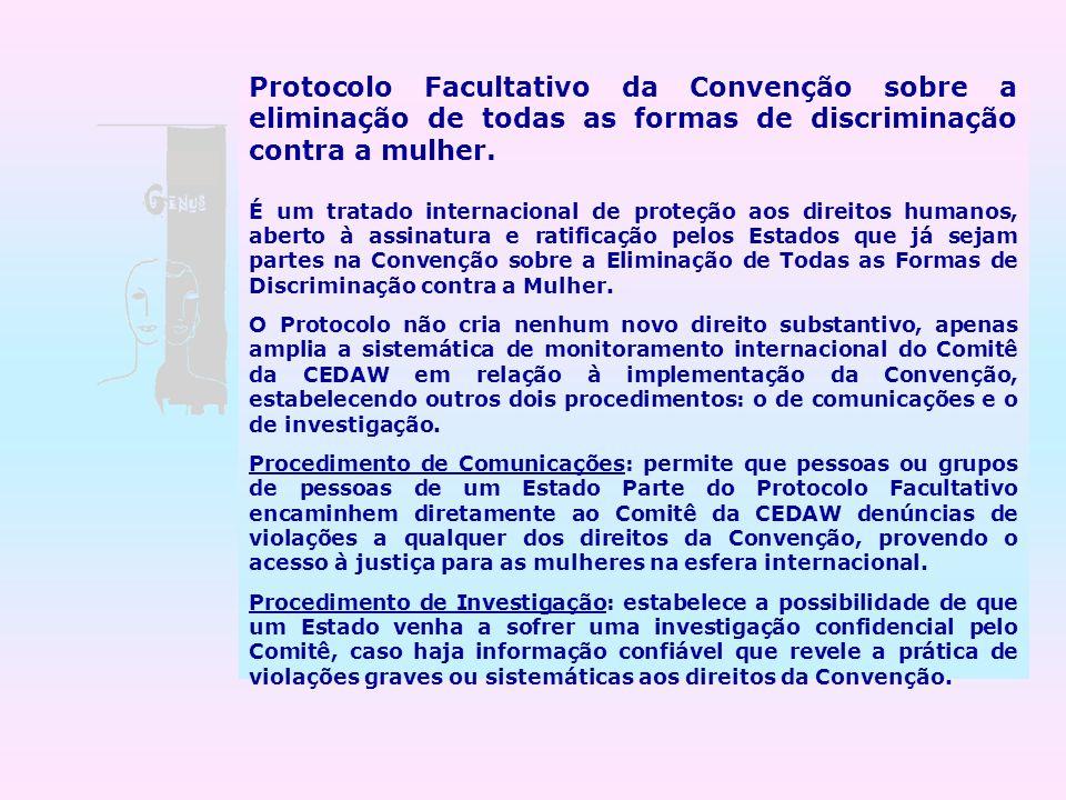 Protocolo Facultativo da Convenção sobre a eliminação de todas as formas de discriminação contra a mulher.