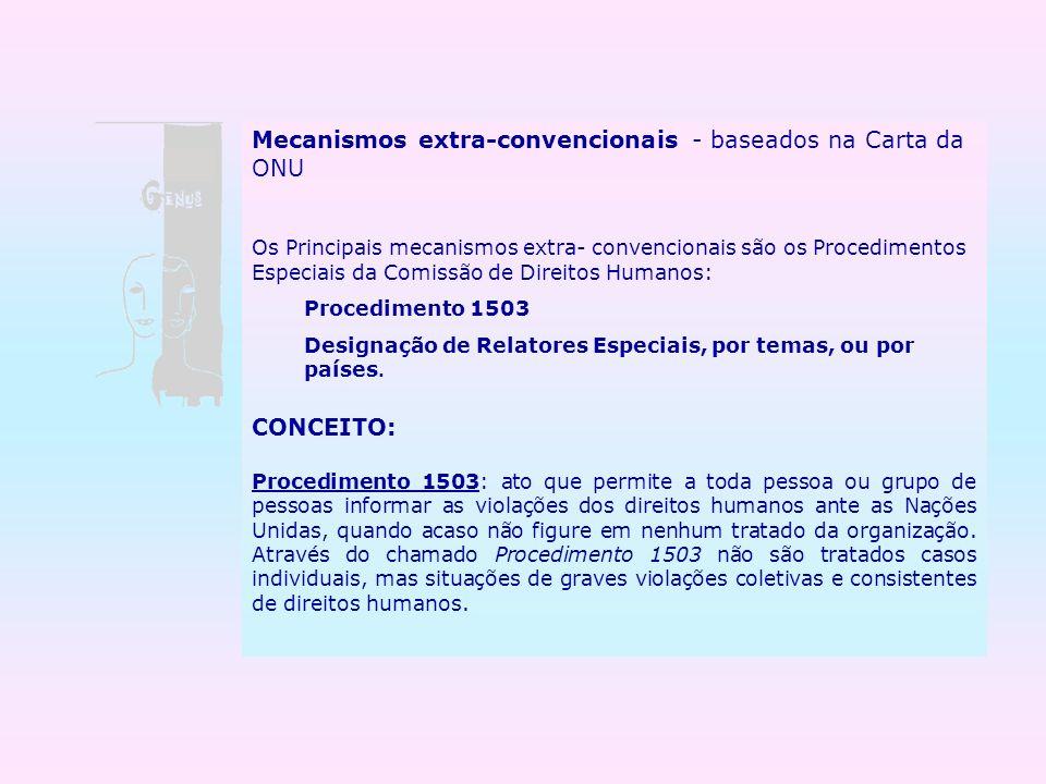 Mecanismos extra-convencionais - baseados na Carta da ONU