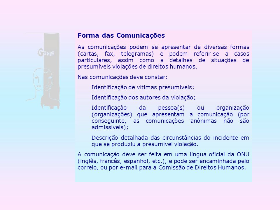 Forma das Comunicações