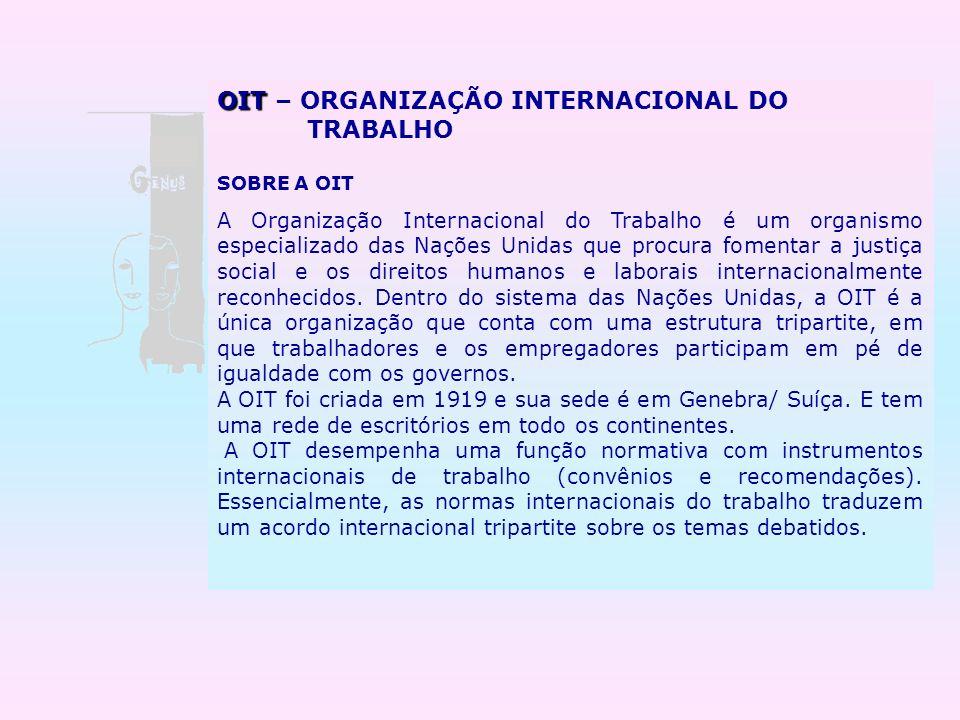 OIT – ORGANIZAÇÃO INTERNACIONAL DO TRABALHO