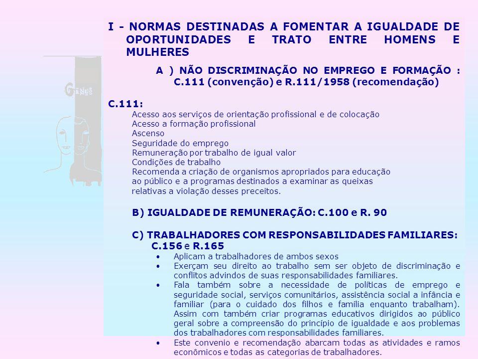 I - NORMAS DESTINADAS A FOMENTAR A IGUALDADE DE OPORTUNIDADES E TRATO ENTRE HOMENS E MULHERES
