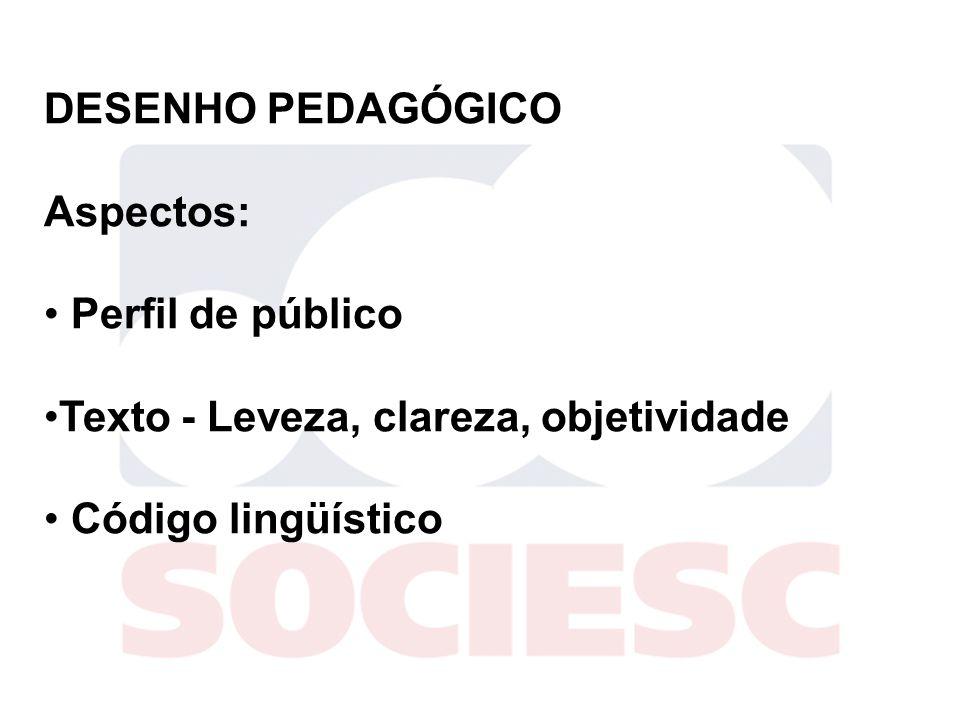 DESENHO PEDAGÓGICO Aspectos: Perfil de público. Texto - Leveza, clareza, objetividade.