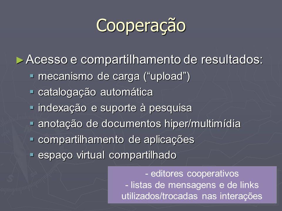 Cooperação Acesso e compartilhamento de resultados: