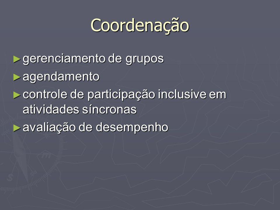 Coordenação gerenciamento de grupos agendamento